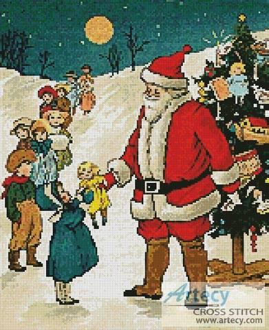 cross stitch pattern Santa Giving Presents
