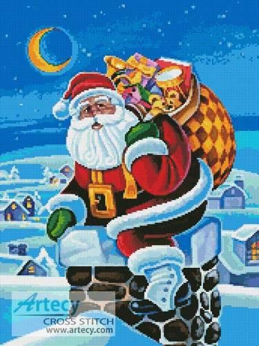 cross stitch pattern Santa in Chimney