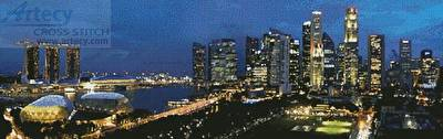 cross stitch pattern Singapore Panorama