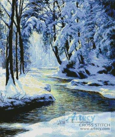 cross stitch pattern Snowy Landscape with Brook