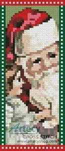 cross stitch pattern Santa Bookmark