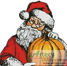 cross stitch pattern Santa Pumpkin