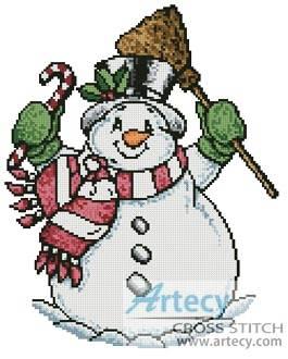 cross stitch pattern Snowman