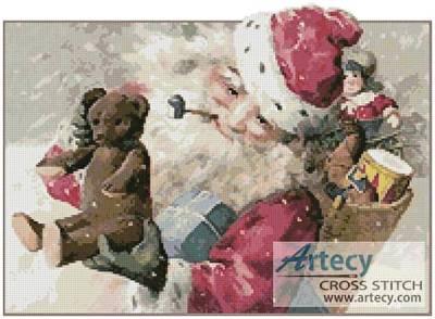 cross stitch pattern Santa with Toys