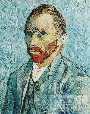 cross stitch pattern Self Portrait of Vincent van Gogh