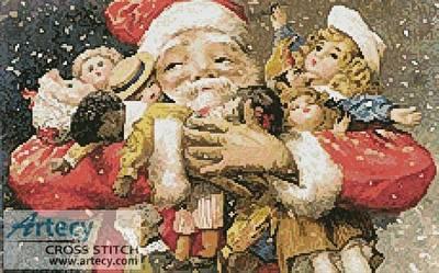 cross stitch pattern Santa Holding Presents
