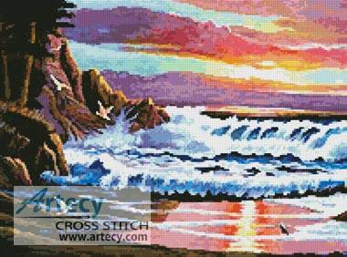 cross stitch pattern Sunset Beach
