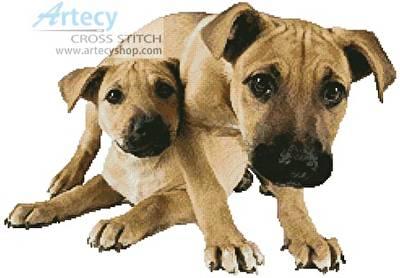 cross stitch pattern Tan Mastiff Puppies
