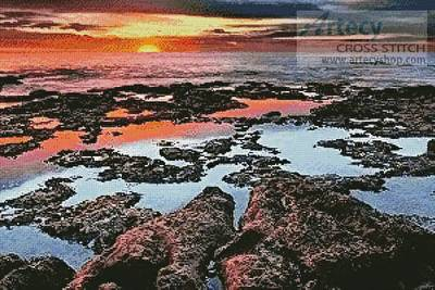 cross stitch pattern Tidal Pool Sunrise