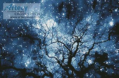 cross stitch pattern Tree Silhouette against Starry Night