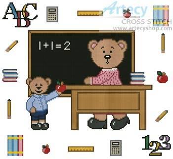 cross stitch pattern Teacher Teddy Border 1