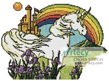 cross stitch pattern Unicorn Rainbow