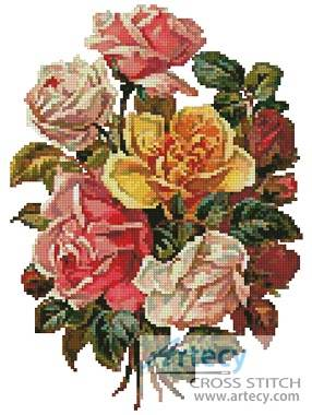 cross stitch pattern Victorian Roses Bouquet