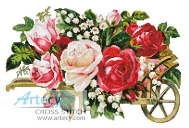 cross stitch pattern Victorian Rose Cart
