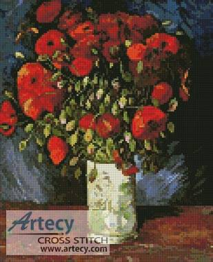 cross stitch pattern Vase with Red Poppies
