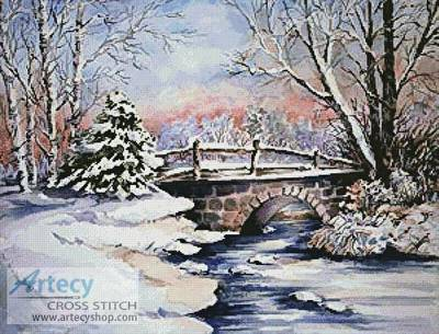 cross stitch pattern Winter Bridge