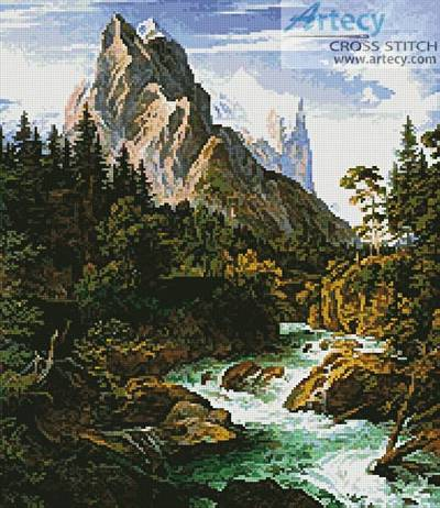 cross stitch pattern The Wetterhorn with the Reichenbachtal