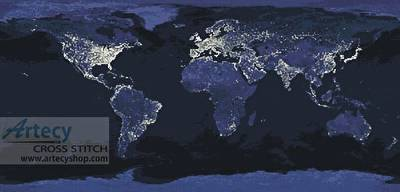 cross stitch pattern Whole Earth at Night Panorama