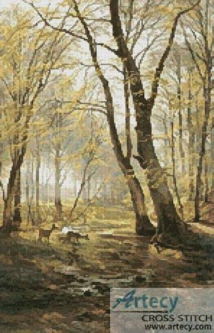 cross stitch pattern A Woodland Scene with Deer