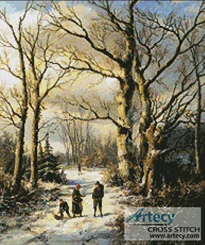 cross stitch pattern Wood Gatherers in a Winter Forest