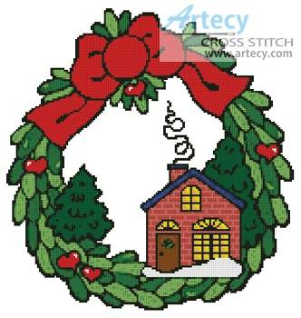 cross stitch pattern Xmas House Wreath