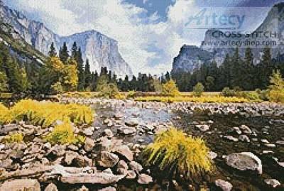 cross stitch pattern Yosemite Valley Photo