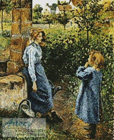 cross stitch pattern Young Woman and Child at the Well