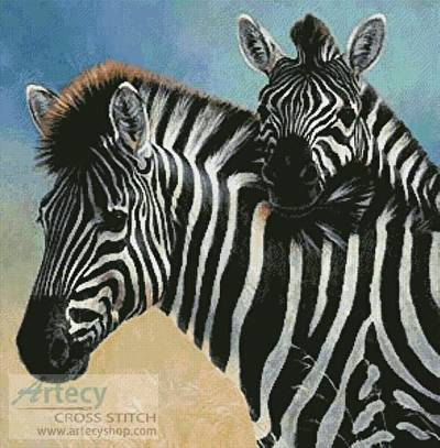 cross stitch pattern Zebra and Foal