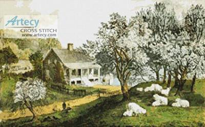 cross stitch pattern American Homestead (Spring)