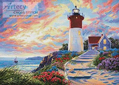 cross stitch pattern Colourful Lighthouse at Sunset