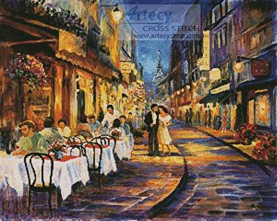 cross stitch pattern Paris Romance