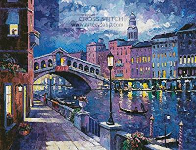 cross stitch pattern Rialto Bridge