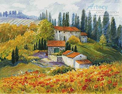 cross stitch pattern Tuscan Sunlight