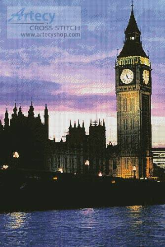 cross stitch pattern Big Ben at Dusk