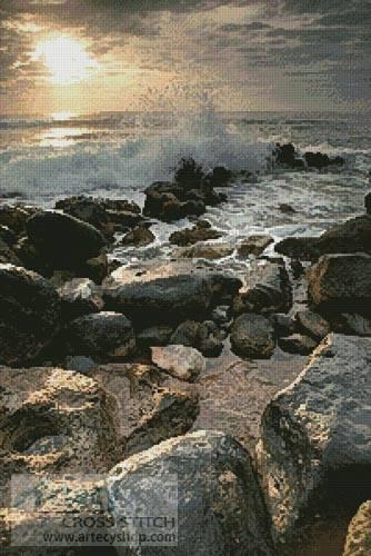 cross stitch pattern Beach Rocks