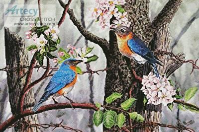 cross stitch pattern Bluebirds