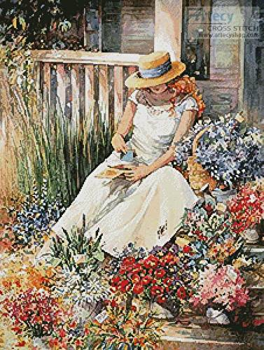 cross stitch pattern Girl with Flowers