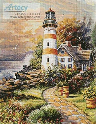 cross stitch pattern Lighthouse Cottage