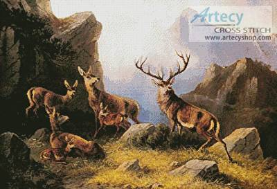 cross stitch pattern Deer in a Mountainous Landscape
