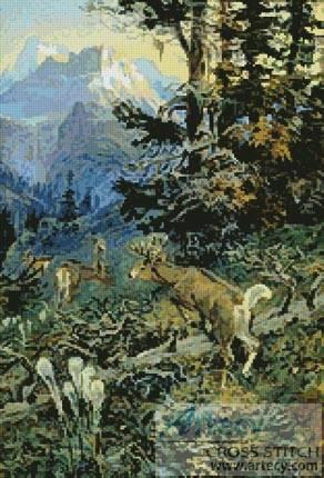 cross stitch pattern Deer in Forest 2