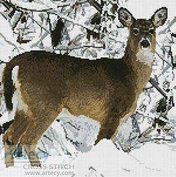 cross stitch pattern Deer in Snow
