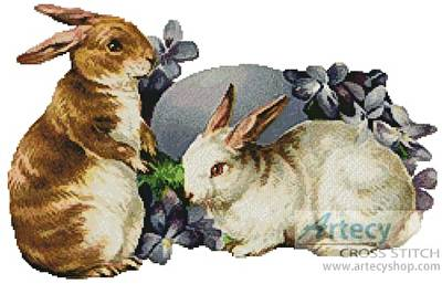 cross stitch pattern Easter Bunnies