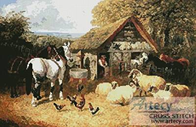 cross stitch pattern Farmyard Scene