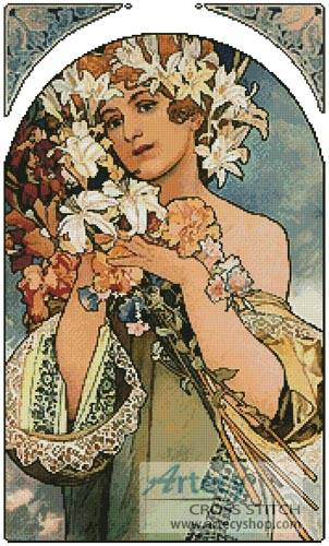 cross stitch pattern Flowers by Mucha