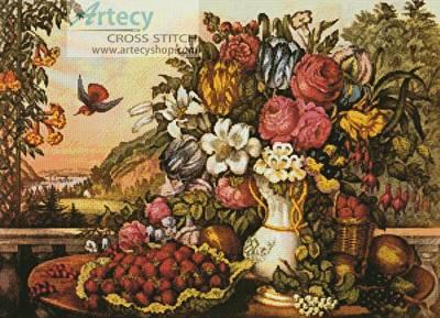 cross stitch pattern Fruits and Flowers