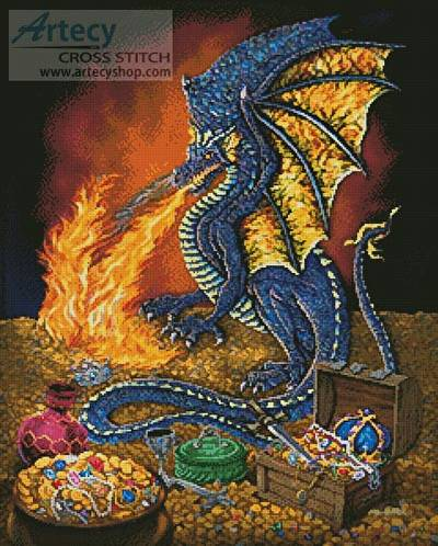 cross stitch pattern Dragons Treasure