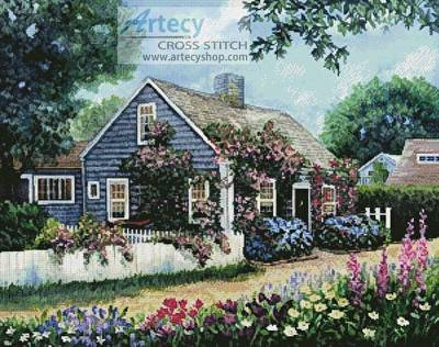 cross stitch pattern Cottage with Roses