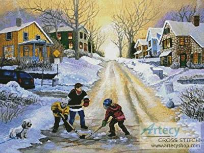 cross stitch pattern Winter Street Scene