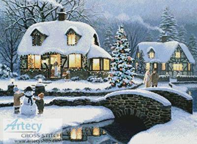 cross stitch pattern Christmas Cottage