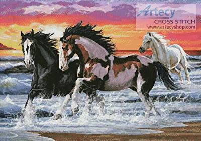cross stitch pattern Horses on a Beach